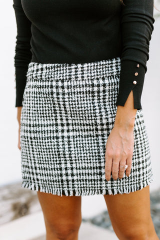 "The ""All The Fun"" Tweed Skirt in Black"