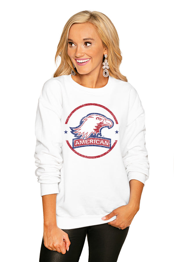 "American University Eagles ""End Zone"" Perfect Cozy Crew Sweatshirt - Shop The Soho"