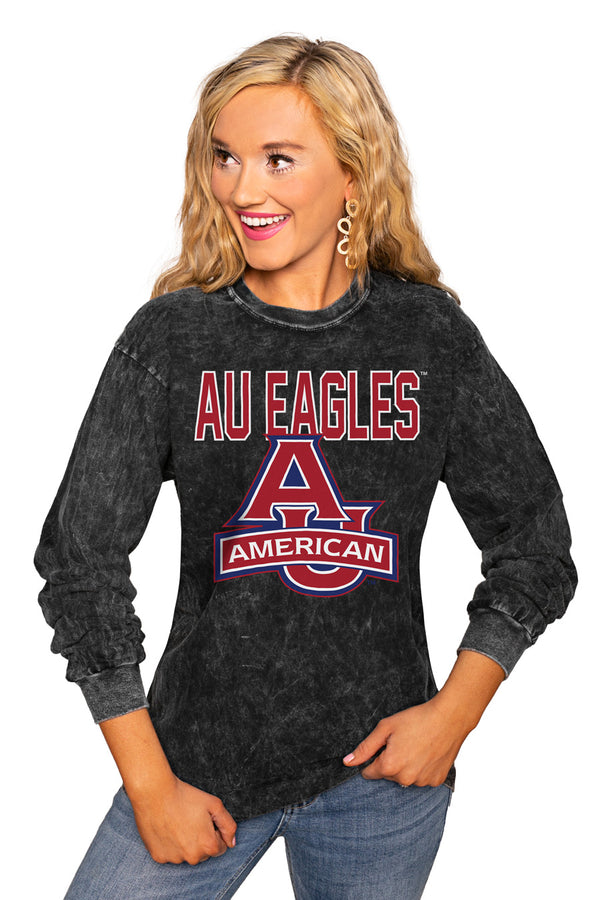 "American University Eagles ""Fourth Down"" Retro Mineral Wash Crew - Gameday Couture"
