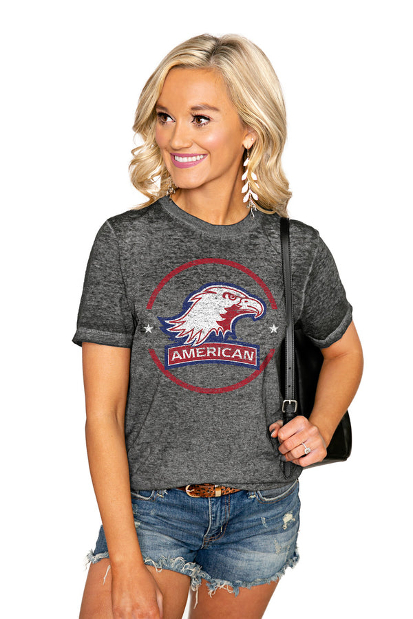 "AMERICAN UNIVERSITY EAGLES ""END ZONE"" ACID WASH BOYFRIEND SHORT SLEEVE TEE - Shop The Soho"