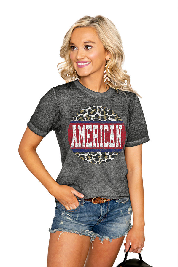 "AMERICAN UNIVERSITY EAGLES ""SCOOP & SCORE"" ACID WASH BOYFRIEND SHORT SLEEVE TEE - Shop The Soho"