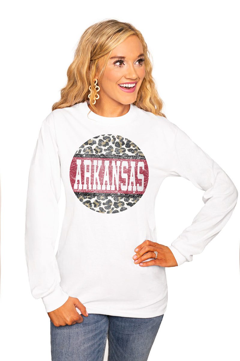 "Arkansas Razorbacks ""Scoop & Score"" Luxe Boyfriend Crew Tee - Gameday Couture"