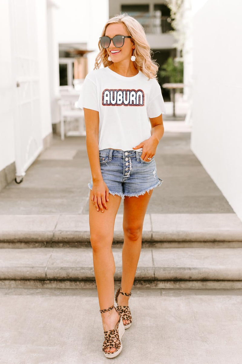 "Auburn Tigers ""It's a Win"" Vintage-Vibe Crop Top - Gameday Couture"