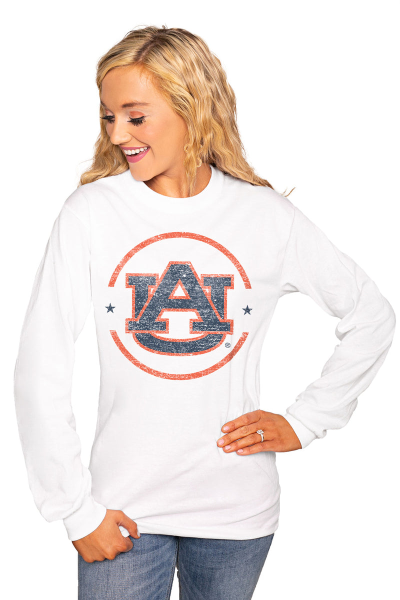 "Auburn Tigers ""End Zone"" Luxe Boyfriend Crew Tee - Shop The Soho"