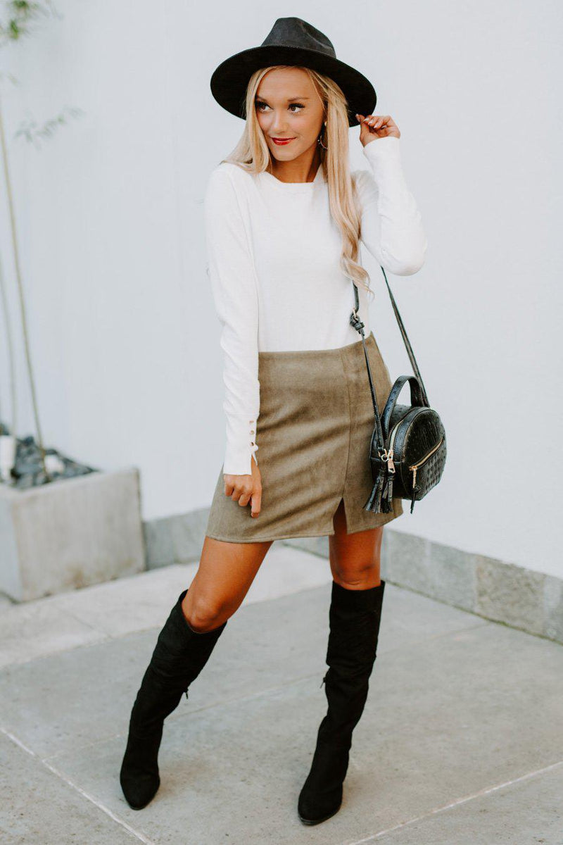 "The ""Autumn Days"" Suede Skirt in Olive - Gameday Couture"