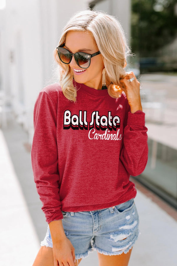 "Ball State Cardinals ""Throwback Varsity Vibes"" Crewneck Long-Sleeved Top"