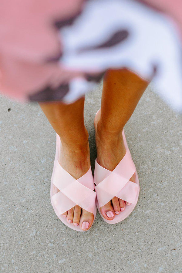 "The ""Be A Little Extra"" Slides In Light Pink - Final Sale - Shop The Soho"