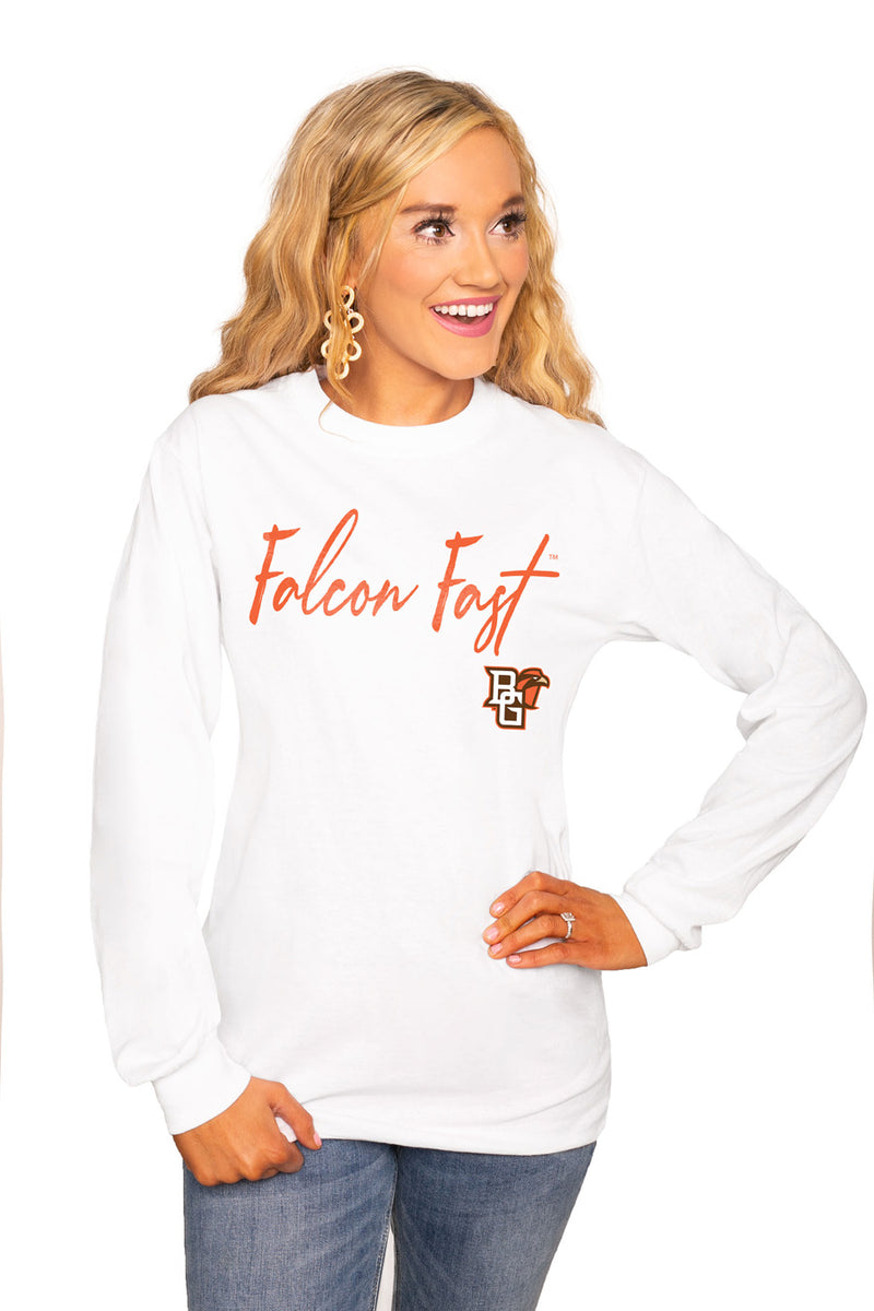 "BOWLING GREEN FALCONS ""WIN THE DAY"" Luxe Boyfriend Crew Tee - Gameday Couture"