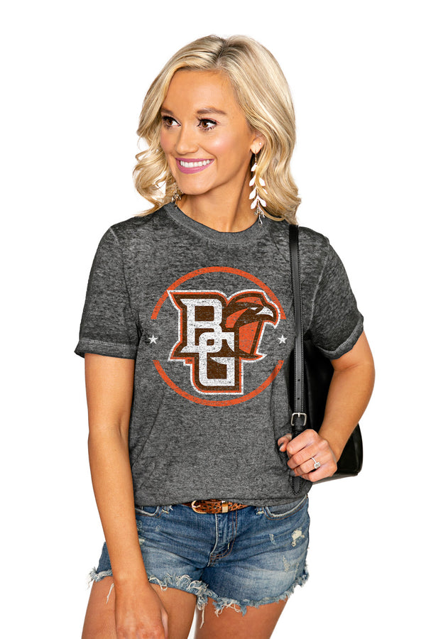 "BOWLING GREEN FALCONS ""END ZONE"" ACID WASH BOYFRIEND SHORT SLEEVE TEE - Shop The Soho"