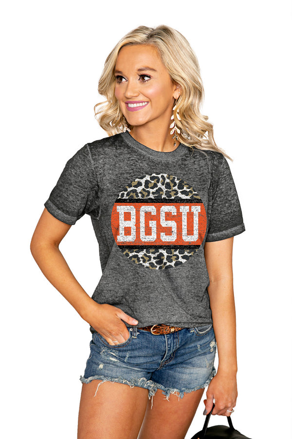 "BOWLING GREEN FALCONS ""SCOOP & SCORE"" ACID WASH BOYFRIEND SHORT SLEEVE TEE - Shop The Soho"
