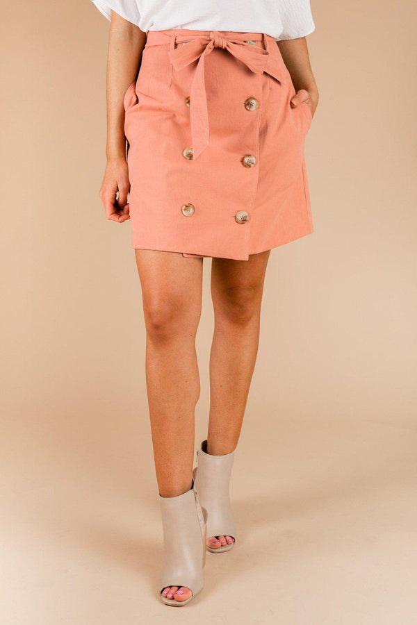 "The ""Buttoned Up"" Denim Skirt in Pink"