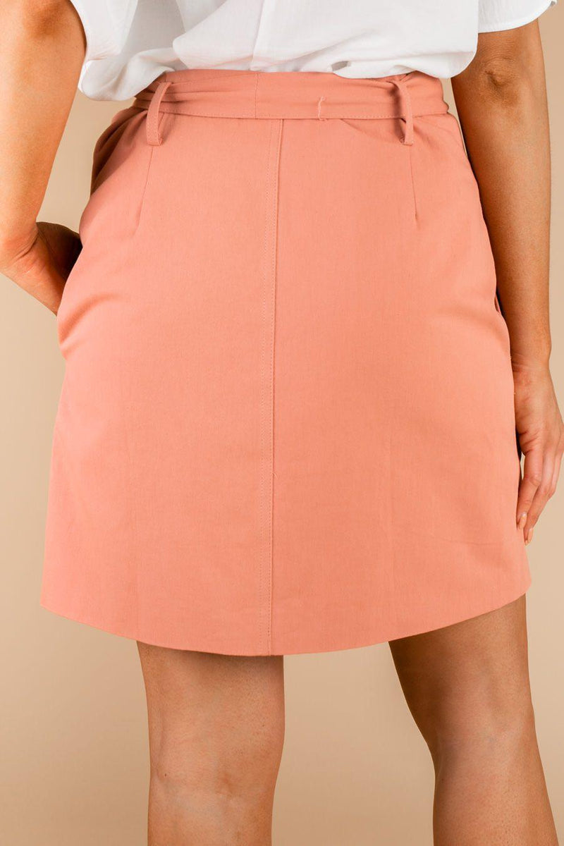 "The ""Buttoned Up"" Denim Skirt In Pink - Final Sale - Shop The Soho"