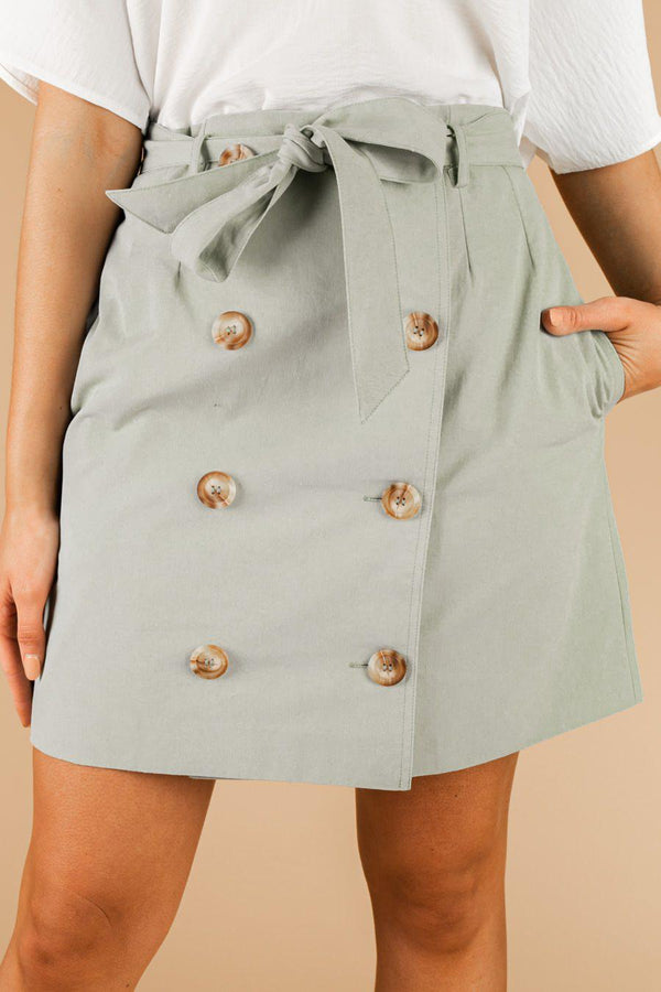 "The ""Buttoned Up"" Denim Skirt in Green"