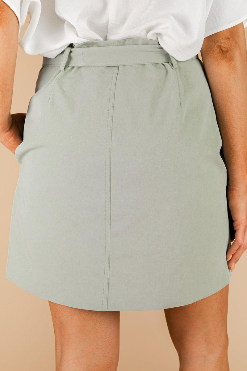 "The ""Buttoned Up"" Denim Skirt in Green - Gameday Couture"
