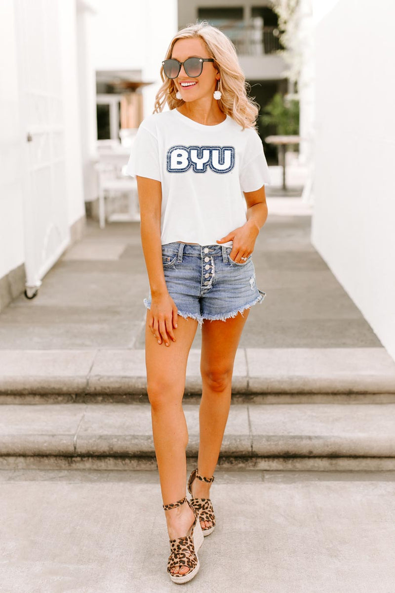 "Brigham Young Cougars ""It's a Win"" Vintage-Vibe Crop Top - Gameday Couture"