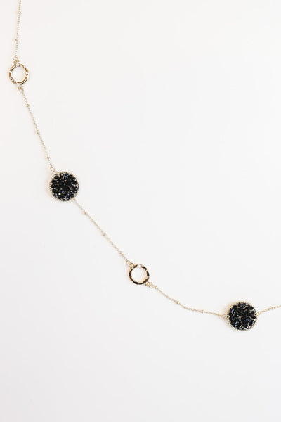 The Beaded Disc Necklace in Black