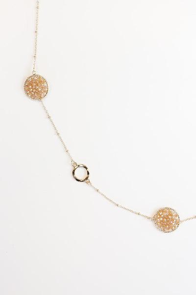 The Beaded Disc Necklace in Tan
