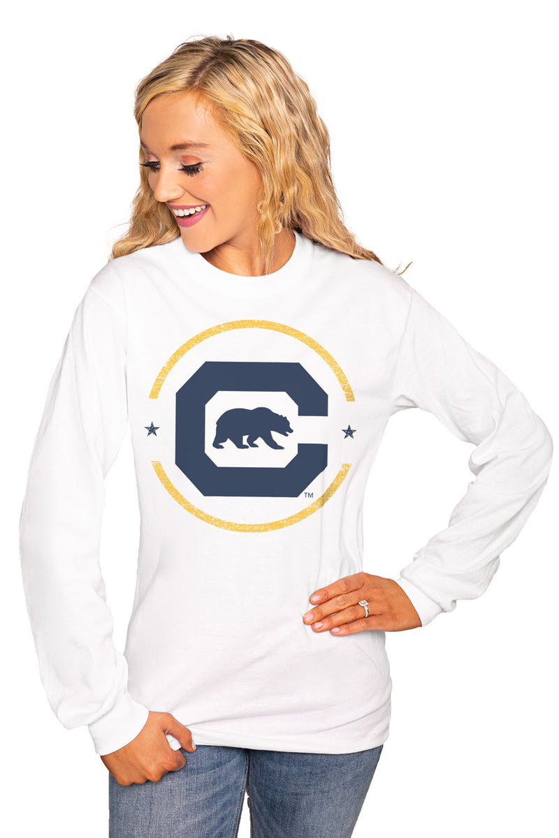 "CALIFORNIA GOLDEN BEARS ""END ZONE"" Luxe Boyfriend Crew Tee - Gameday Couture"