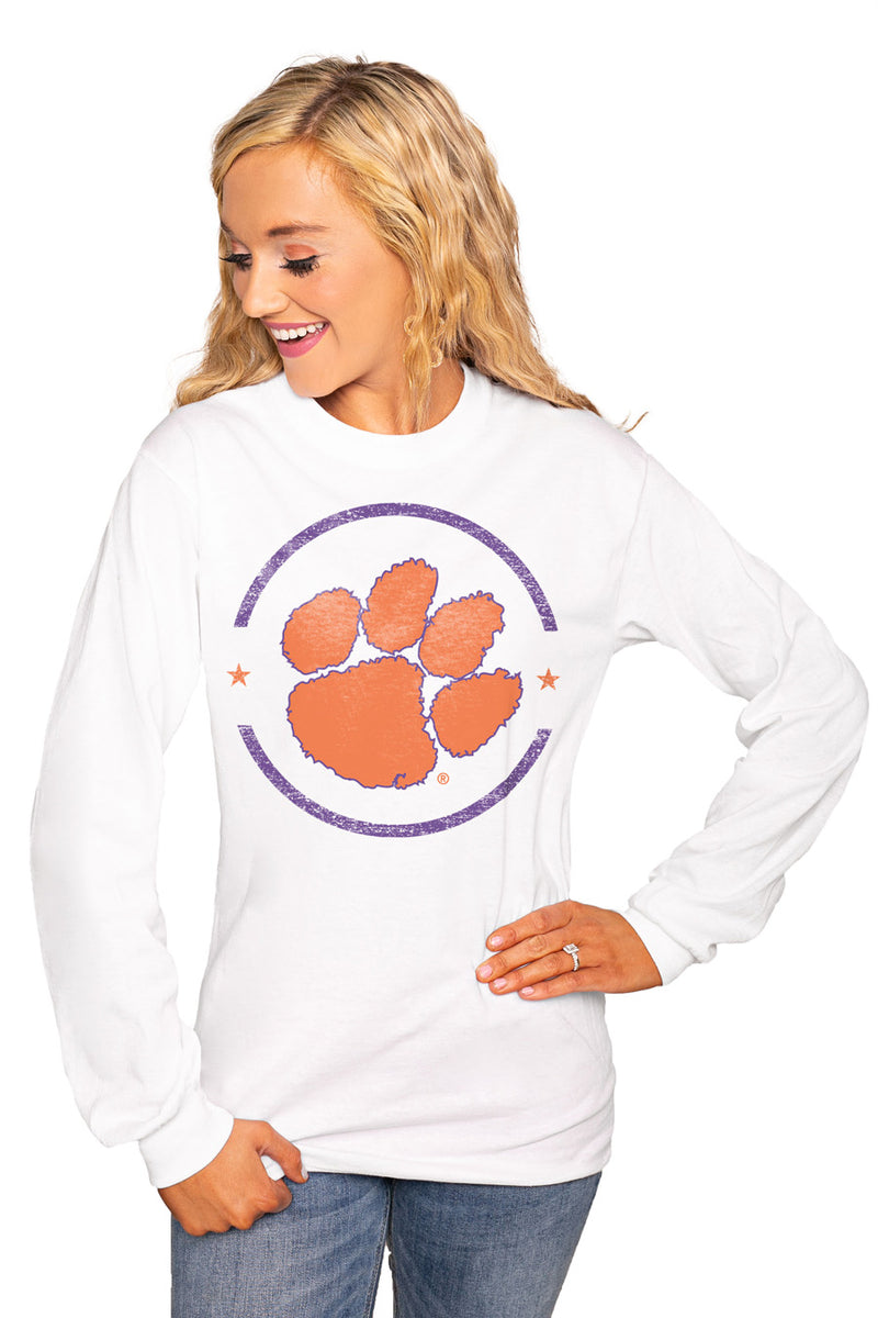 "CLEMSON TIGERS ""END ZONE"" Luxe Boyfriend Crew Tee - Gameday Couture"