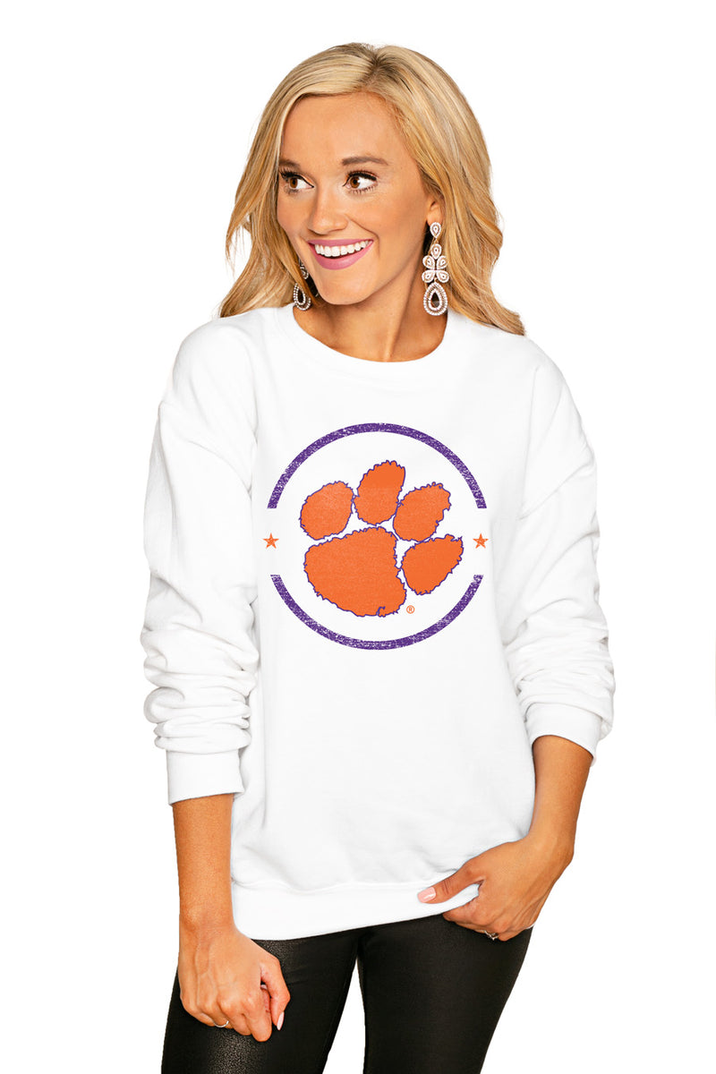 "Clemson Tigers ""End Zone"" Perfect Cozy Crew Sweatshirt - Gameday Couture"