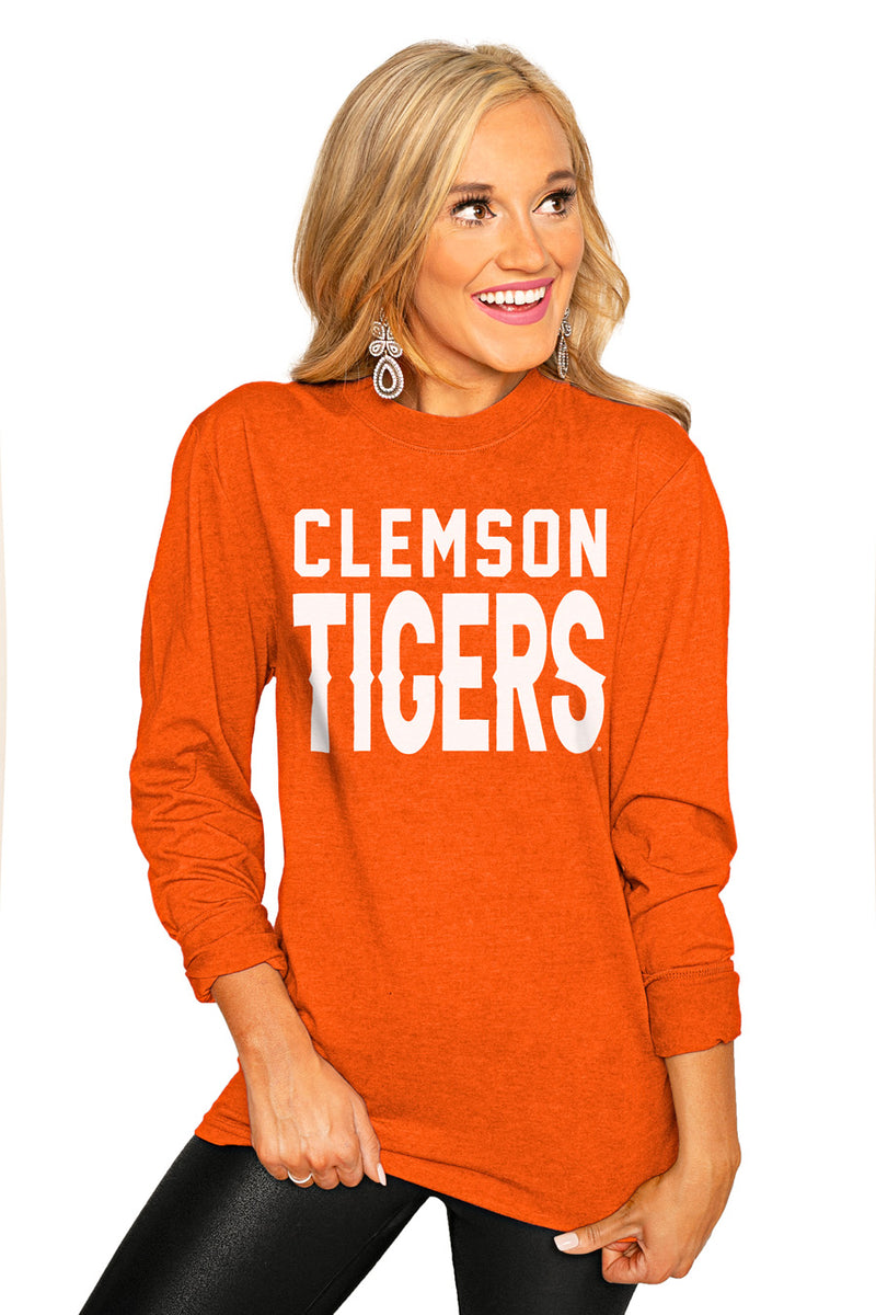 "CLEMSON TIGERS ""GO FOR IT"" Luxe Boyfriend Crew Tee - Gameday Couture"