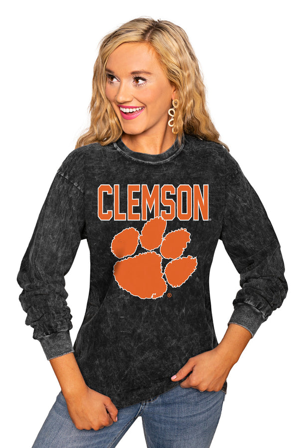 "Clemson Tigers ""Fourth Down"" Retro Mineral Wash Crew - Gameday Couture"