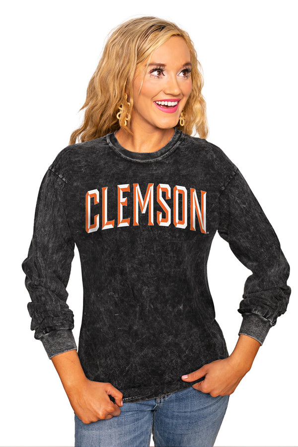 "Clemson Tigers ""Good Going"" Retro Mineral Wash Crew - Gameday Couture"