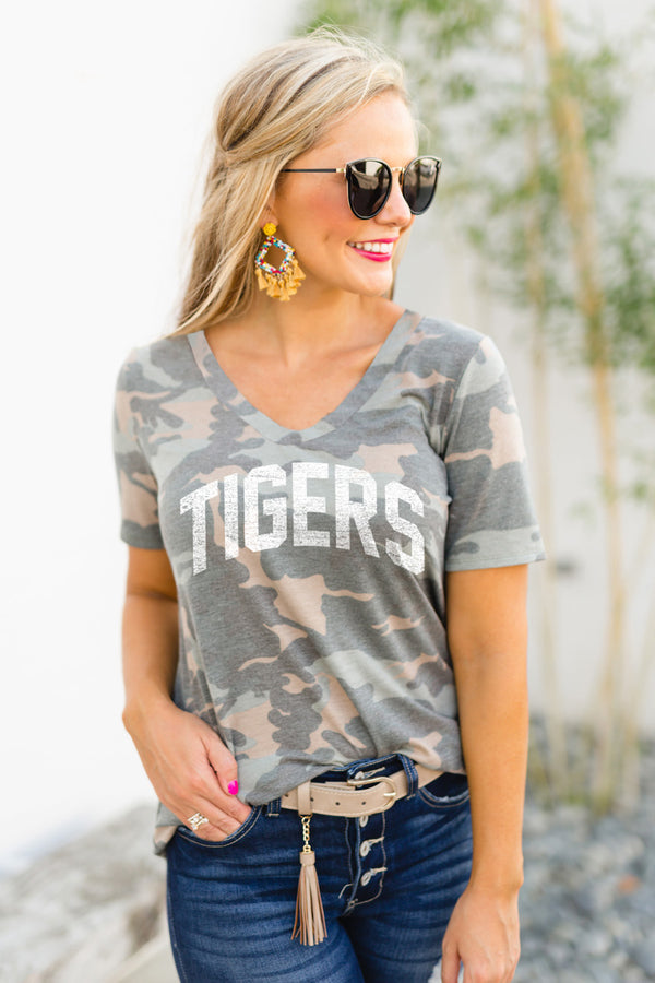 "Clemson Tigers ""No Hiding"" Camo V-Neck Top - Shop The Soho"