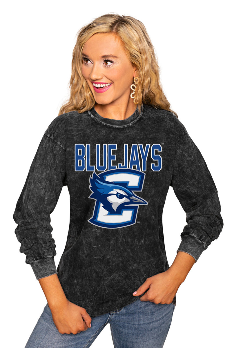 "Creighton Bluejays ""Fourth Down"" Retro Mineral Wash Crew - Gameday Couture"