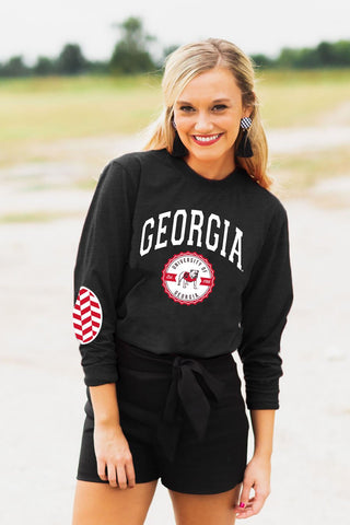 "Georgia Bulldogs ""Patch It Up"" Elbow Patch Tee in Black - Gameday Couture"