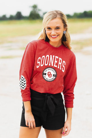 "Oklahoma Sooners ""Patch It Up"" Elbow Patch Tee"