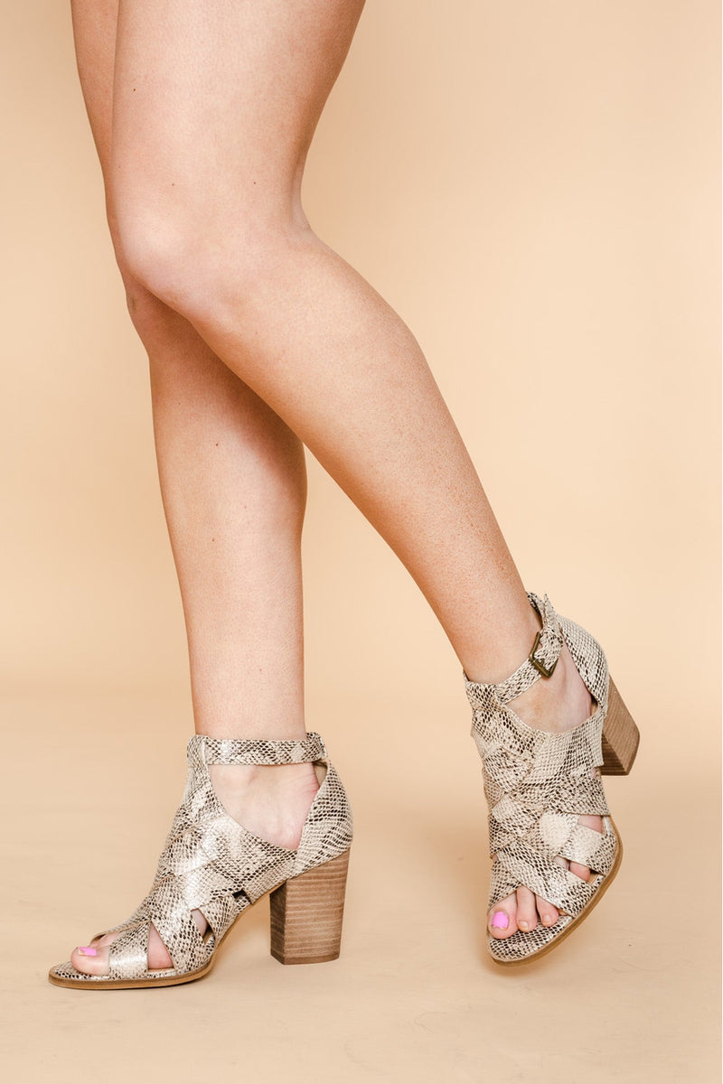 "The ""Cross Roads"" Heels In Snake - Shop The Soho"