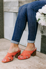 "The "" Crossing Paths"" Heeled Sandals in Coral - Gameday Couture"