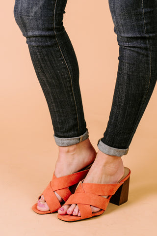 "The "" Crossing Paths"" Heeled Sandals in Coral"