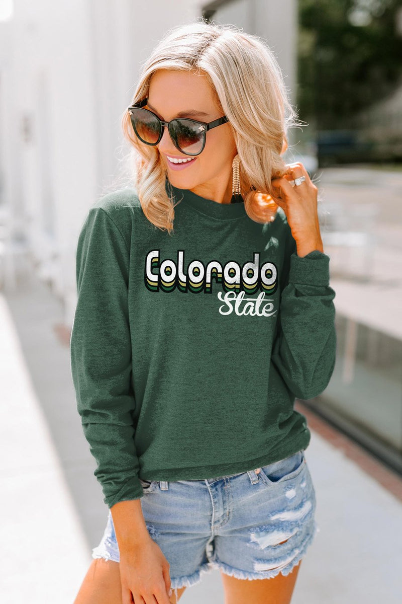 "Colorado State Rams ""Throwback Varsity Vibes"" Crewneck Long-Sleeved Top - Shop The Soho"
