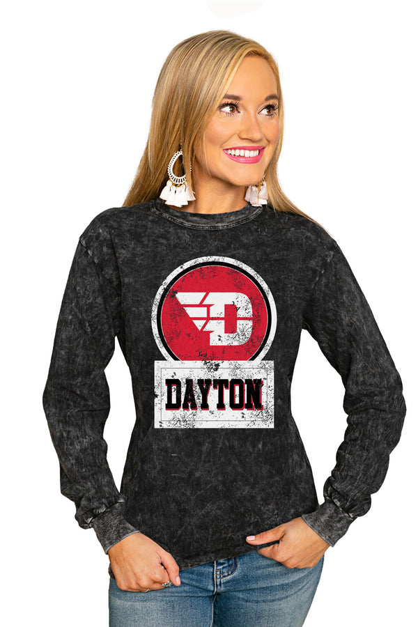 "Dayton Flyers ""Good Vibes"" Retro Mineral Wash Crew - Gameday Couture"