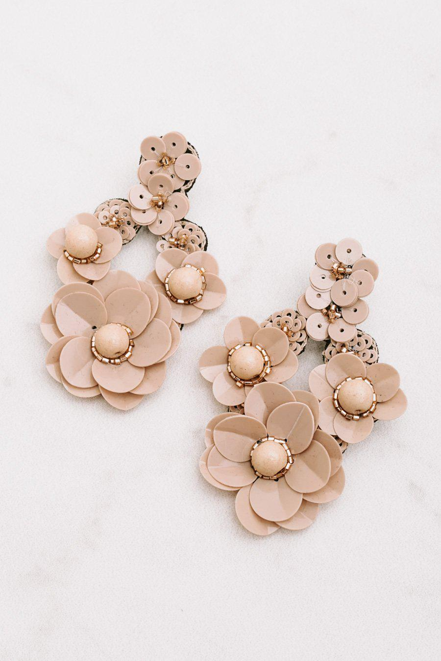 "The ""Drops Of Floral"" Earrings in Tan"