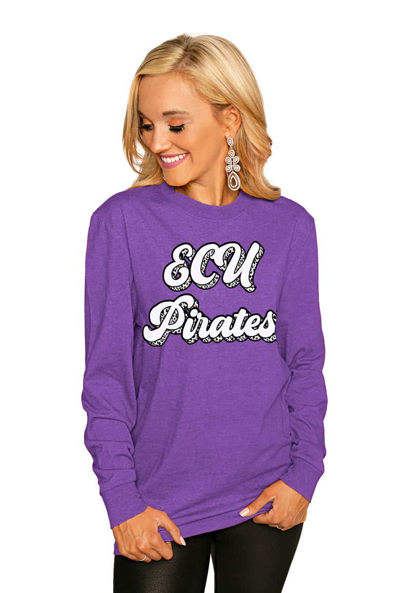 "East Carolina Pirates""Game Plan"" Luxe Boyfriend Crew Tee - Gameday Couture"