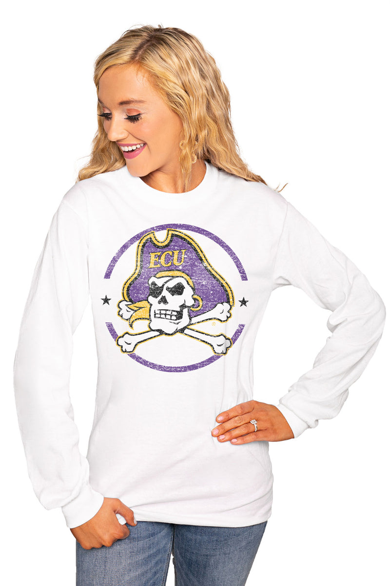 "EAST CAROLINA PIRATES ""END ZONE"" Luxe Boyfriend Crew Tee - Gameday Couture"