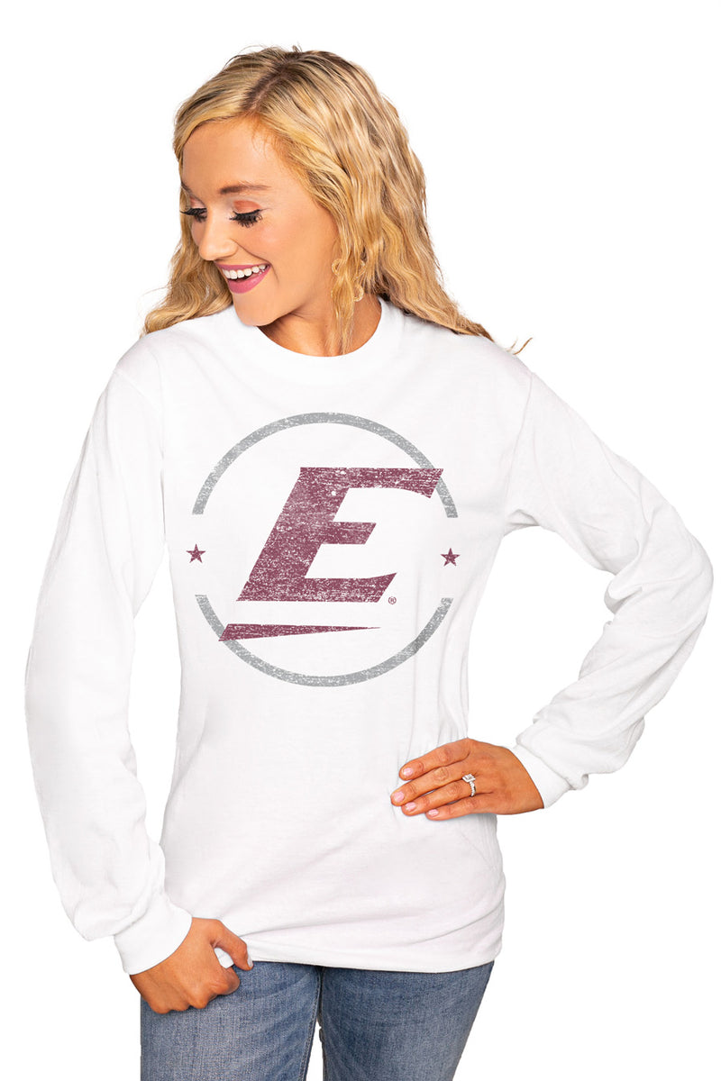 "Eastern Kentucky Colonels ""End Zone"" Luxe Boyfriend Crew Tee - Gameday Couture"