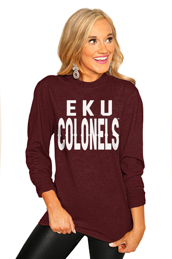 "Eastern Kentucky Colonels ""Go For It"" Luxe Boyfriend Crew Tee - Gameday Couture"