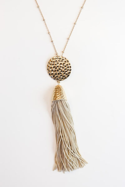 The Empress Tassel Necklace in Tan