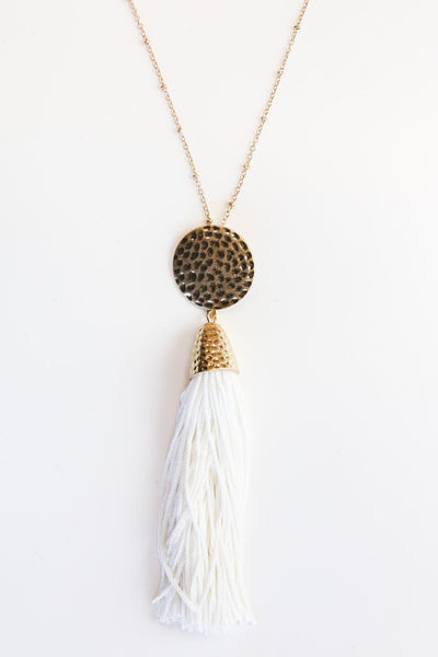 The Empress Tassel Necklace in White