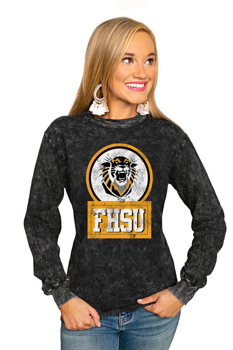 "FORT HAYS STATE TIGERS ""GOOD VIBES"" RETRO MINERAL WASH CREW - Gameday Couture"