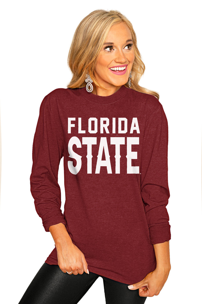 "FLORIDA STATE SEMINOLES ""GO FOR IT"" Luxe Boyfriend Crew Tee - Gameday Couture"