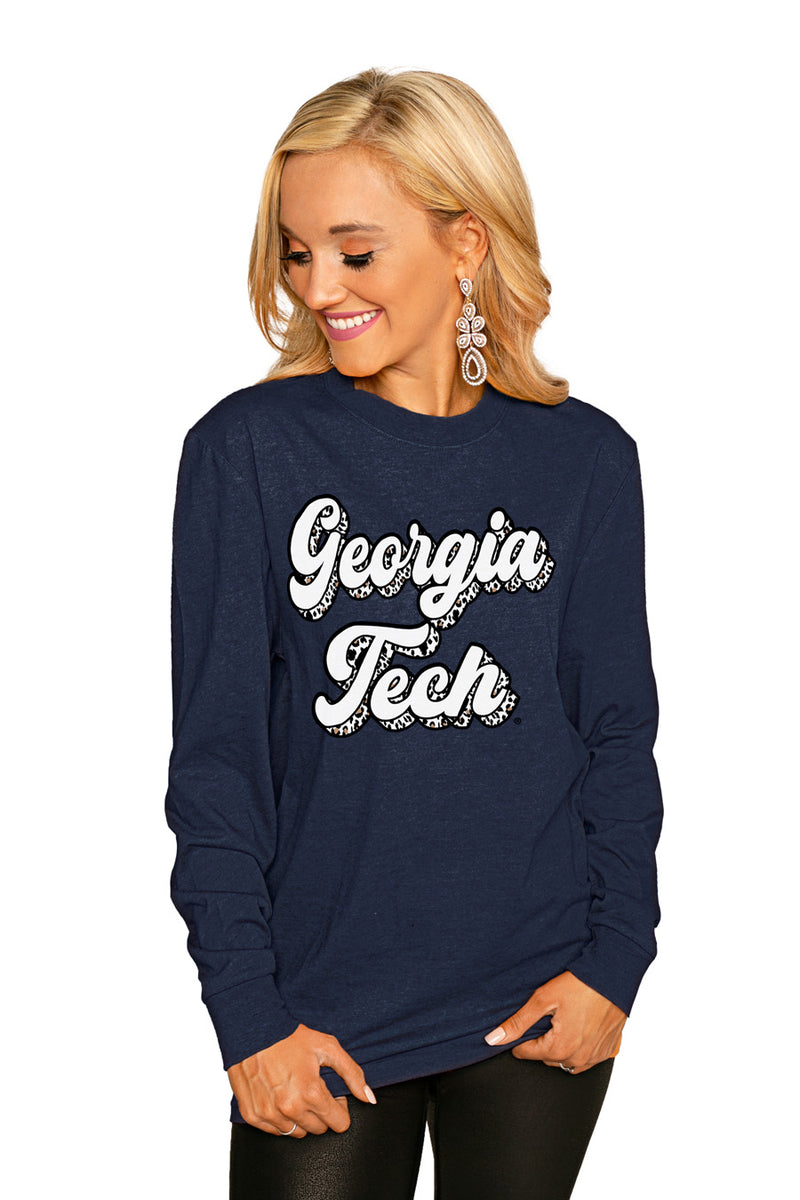 "Georgia Tech ""Game Plan"" Luxe Boyfriend Crew - Gameday Couture"