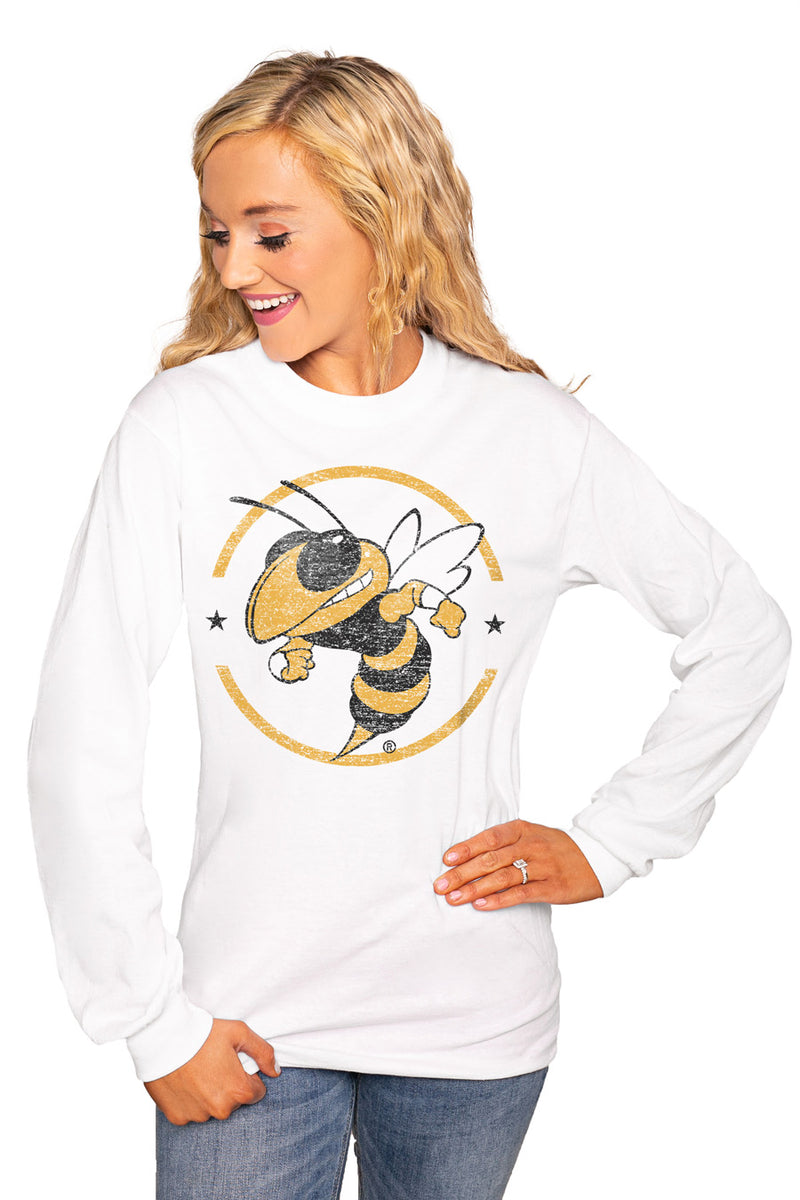 "Georgia Tech Yellow Jackets ""End Zone"" Luxe Boyfriend Crew Tee - Shop The Soho"