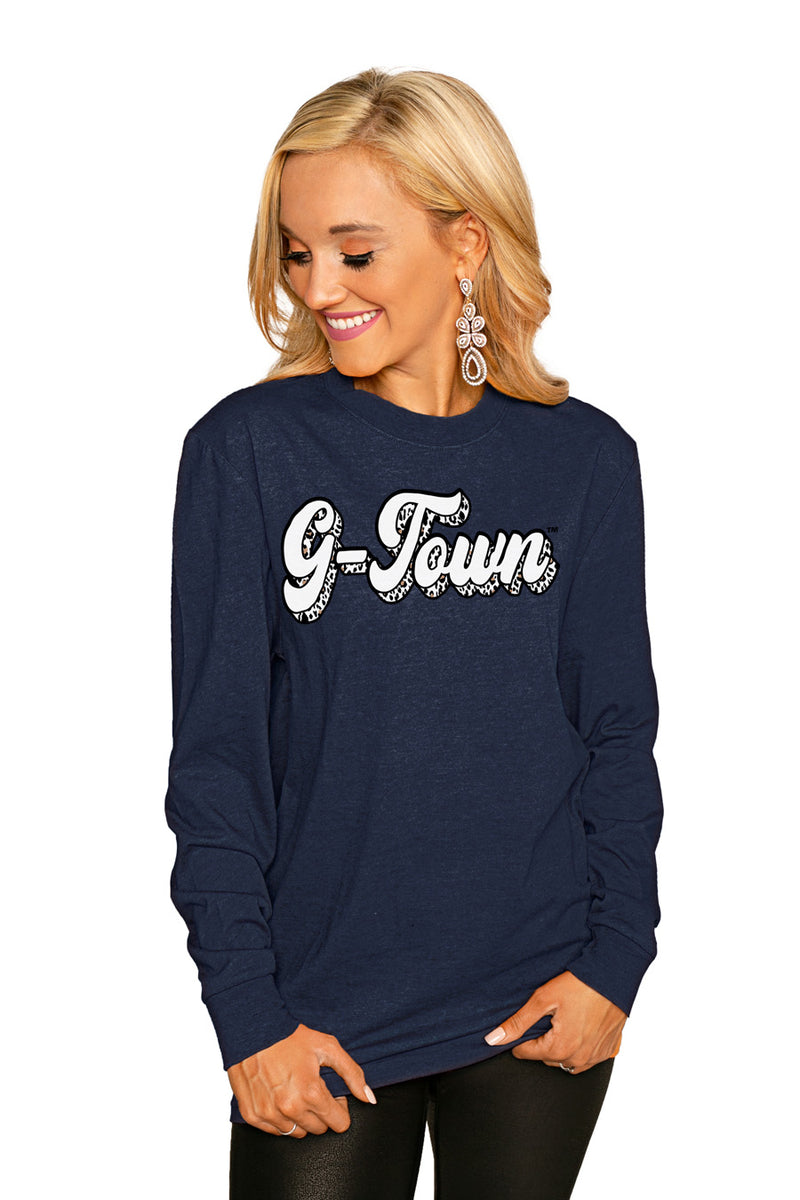 "GEORGETOWN HOYAS""GAME PLAN"" Luxe Boyfriend Crew Tee - Gameday Couture"