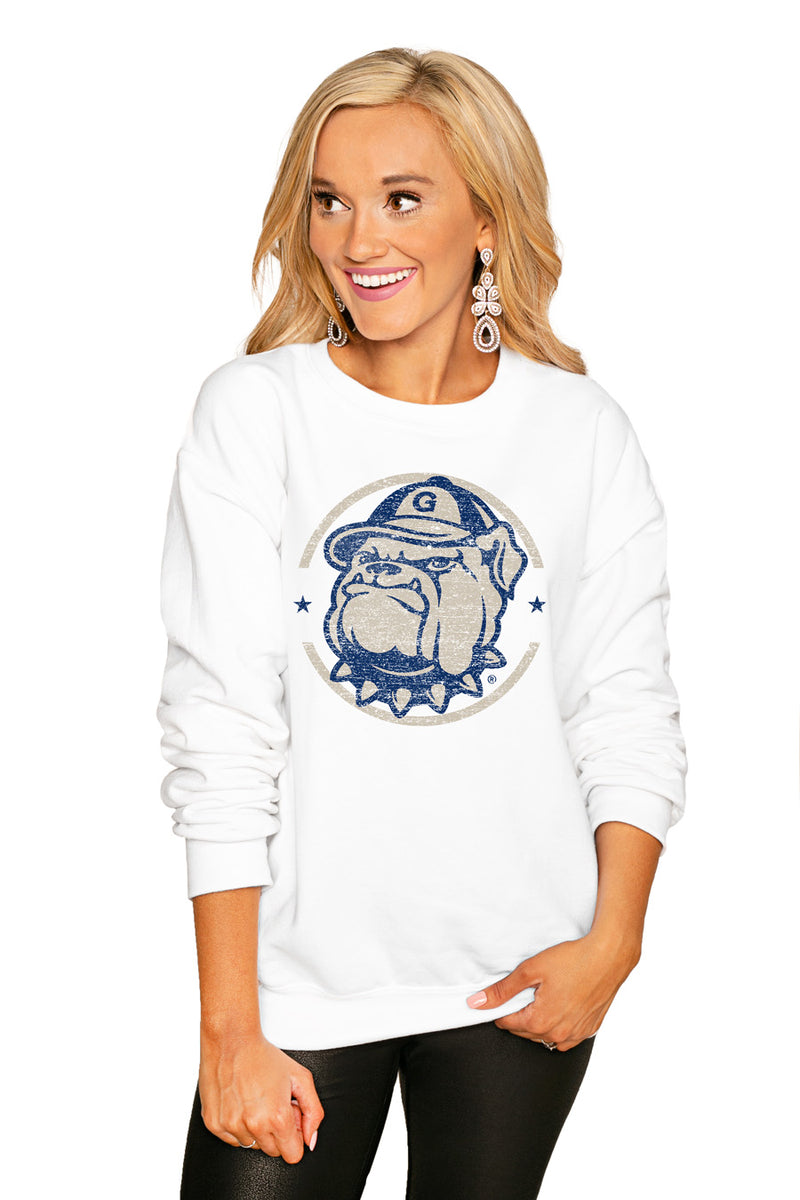 "GEORGETOWN HOYAS ""END ZONE"" PERFECT COZY CREW SWEATSHIRT - Gameday Couture"