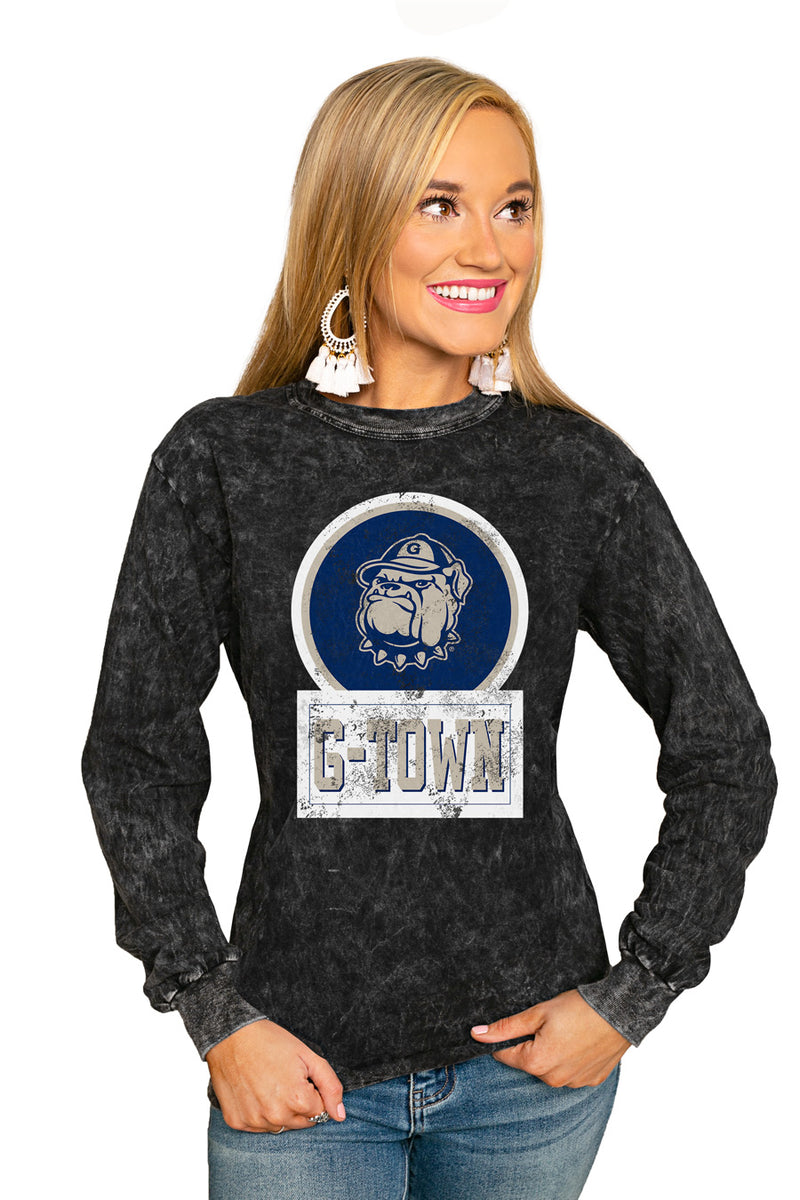 "Georgetown Hoyas ""Good Vibes"" Retro Mineral Wash Crew - Gameday Couture"